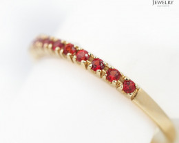 Stylish Modern 18 K Yellow Gold Ruby Ring size 7 R9754