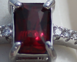 Red Garnet .50ct,White Gold Plated,Solid Sterling Silver Ring