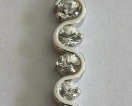 White topaz 925 Sterling silver pendant #34285