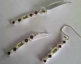 Rhodolite peridot set - 925 Sterling silver (earring and pendant) #33469