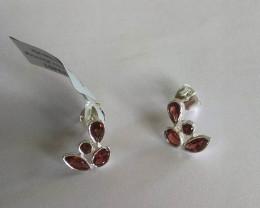 Garnet 925 Sterling silver earrings #33401