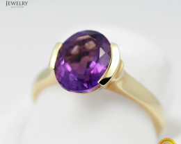 Stylish Modern 14 K Yellow Gold Amethyst Ring size 7 R10713