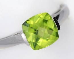 Stylish Modern 14 K White Gold Peridot Ring size 7 R2626 2400 W