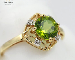 Stylish Modern 14 K Yellow Gold Peridot & Diamond Ring size 7 R6720