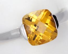 Stylish Modern 14 K White Gold Citrine Ring size 7 R2626 2300 W