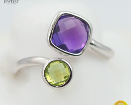 Stylish Modern 14 K White Gold Multi Gems Ring size 6.75 R10067