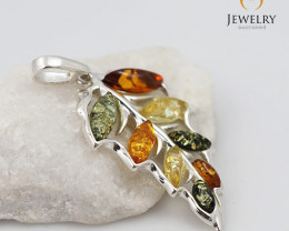 Baltic Amber Leaf Pendant  Sale, direct from Poland  AM 316
