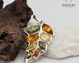 Baltic Amber Leaf Pendant  Sale, direct from Poland plus Bonus AM 106