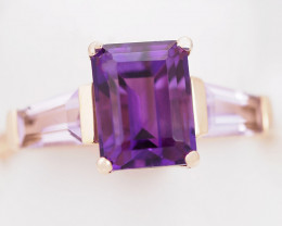 Stylish Modern 18 K Rose Gold Amethyst Ring size 6.75 R11963 4100