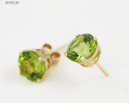 14 K Yellow Gold Peridot earrings - 21 -E4046 1800