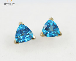 14 K Yellow Gold Blue Topaz earrings E3488 1900