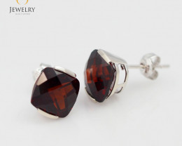 14 K White Gold Garnet earrings - 24 - E2420 3250