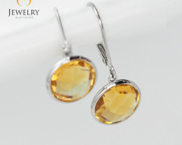 14 K White Gold Citrine earrings sheppard hooks E9855 2550