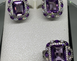 Natural Amethyst, CZ and Silver Earrings and Finger Ring Set