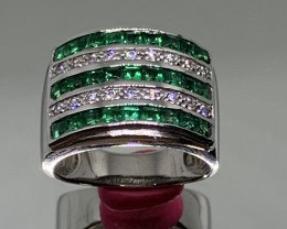 Russian Cerated Emerald, CZ and Silver Ring