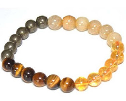 Bracelet Pyrite Citrin  Tiger Eye  Golden Rutilated Quartz
