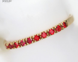 Cute Cluster Modern 18 K Yellow Gold Ruby Ring size 7 ref  38482 NR