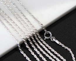 THREE 18 Inch,46 cm ITwisted Rope Silver chain  .most popular chain    AM14