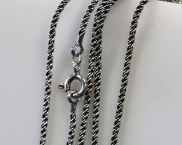 20 Inch,50 cm  Santique style twisted iodized  Silver chain  .    AM160