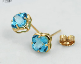 18 K Yellow Gold Blue Topaz earrings E3991C