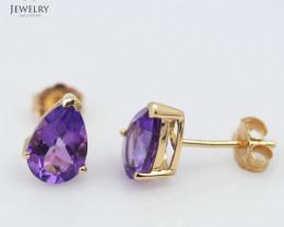 18 K Yellow Gold Amethyst earrings E729C