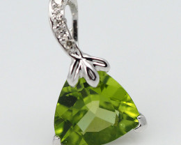 18 K White Gold Peridot & Diamond Pendant P5640