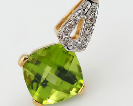 18 K Yellow Gold Peridot & Diamond Pendant P5580