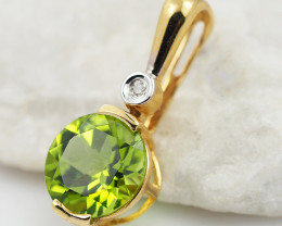18 K Yellow Gold Peridot & Diamond Pendant P5793