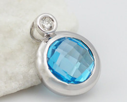 18 K White Gold Blue Topaz & Diamond Pendant P10278