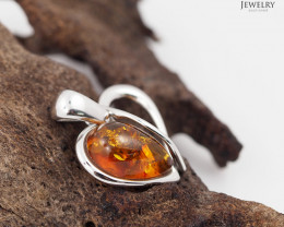 Baltic Amber Pendant  Sale, lovers heart shape ,direct from Poland  AM 166