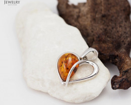 Baltic Amber Pendant  Sale, lovers heart shape ,direct from Poland  AM 168