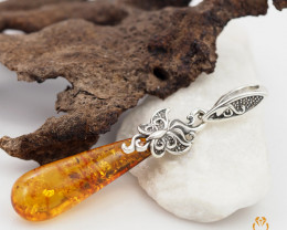 Baltic Amber Pendant  Sale, Long Drop shape ,direct from Poland  AM174