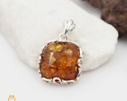 Baltic Amber Pendant  Sale, Square  shape ,direct from Poland  AM 175
