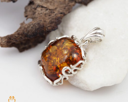 Baltic Amber Pendant  Sale, Square  shape ,direct from Poland  AM 176