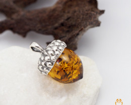 Baltic Amber Pendant  Sale, Alcorn  shape ,direct from Poland  AM 177