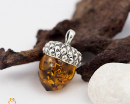 Baltic Amber Pendant  Sale, Alcorn  shape ,direct from Poland  RN 126