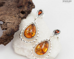 Baltic Amber Earring  Sale, Dual swing  design ,direct from Poland  AM 182