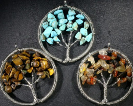 Three  earthy Tree of Life Gemstones jewelry JGG 195