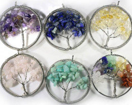 Six Tree of Life  Multi natural Gemstones jewelry JGG 185