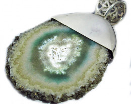 50.16 CTS AMETHYST STALACTITE SILVER PENDANT- FACTORY SJ2923