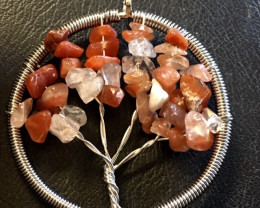 Crystal n Agate Tree of Life Gemstones jewelry in pouch AM189