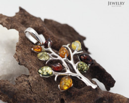 Amber -  Tree of Life - Silver Pendant  AM191