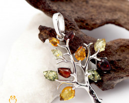Amber -  Tree of Life - Silver Pendant  AM194