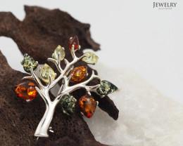 Amber -  Tree of Life - Silver Brooch RN 113