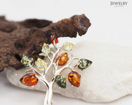 Amber -  Popular Tree of Life - Silver Brooch AM 201a