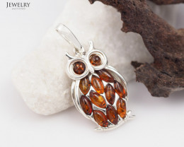 Baltic Amber Pendant  Sale, Cute Owl ,direct from Poland  AM 202