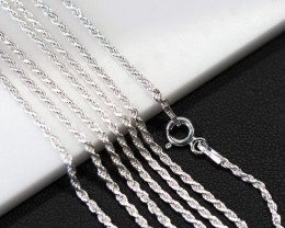 three 20  Inch,50 cm Twisted Silver chain , most popular .    AM217