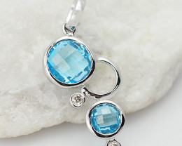 14 K White Gold Blue Topaz & Diamond Pendant P10864