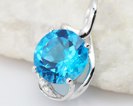 14 K White Gold Blue Topaz & Diamond Pendant P11933
