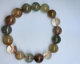 Multi Colour Natural Rutile Quartz Bracelet